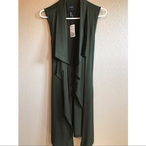 Olive colored long vest size small